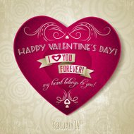 valentines day greeting card with red heart and flower