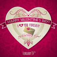 red valentines day greeting card with  heart and flower