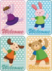 cartoon animal dancer card