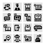 online education concept icons set