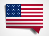 USA flag paper 3d realistic speech bubble on white background