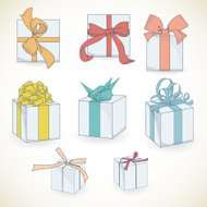 Set of hand drawn gift boxes with bows and ribbons.