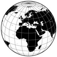 Earth with grid lines Europe and Africa