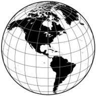 Earth with grid lines the Americas