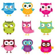 Cute vector owls set