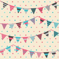 Colorful pattern with bunting and garland