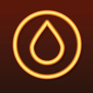 Glowing golden icon. Drop in a circle.