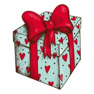 Present box with hearts and bow isolated on white.