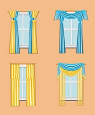 set of windows with curtains