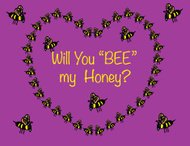 Valentine's Greeting Card with Heart Shape Made of Bubblebees Ba