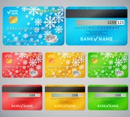 Set of realistic credit card two sides