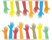 hands of different colors. cultural and ethnic diversity, vector