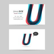 vector business card template - letter u