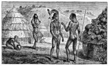 Victorian engraving of indigenous African villagers