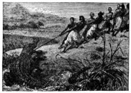 Victorian engraving of a crocodile hunt