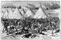 Victorian engraving of a battle between indigenous Africans and