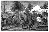 Victorian engraving of indigenous African warriors dancing