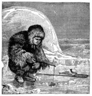 Victorian engraving of an inuit ice fishing