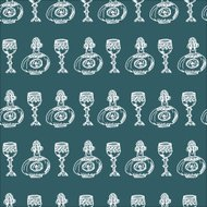 Wine Glass and Old-Style Decanter Horizonal Seamless Pattern on
