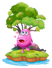 island with a pink monster near the giant tree