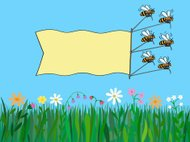 Bees with banner over nature.