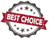 Best CHOICE red grunge vintage seal isolated on white