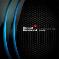 Black honeycomb background with blue curves