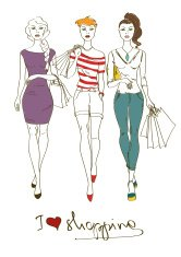 Illustration with three fashion girls