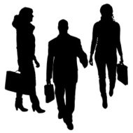 Vector silhouette of businessman.