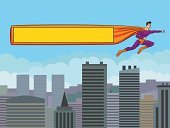 Superhero with a banner over the city.