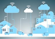 Cloud Computing Paper Cutout City and Suburb Network
