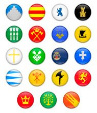 Norwegian Counties Button Flag Collection