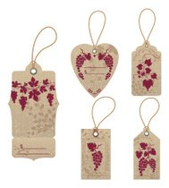 Textured Grapes Wine Tag With String