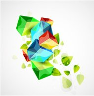 Vector glass cubes and leaves. Concept