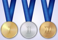 Vector set of sportive award medals