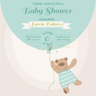 Baby Shower or Arrival Card - Bunny with Balloon