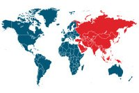 world map with Asia highlighted in red