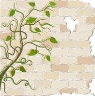curly vines on a brick wall