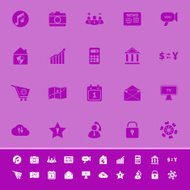 Smart phone color icons on purple background
