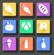 vector flat food icons