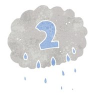 retro cartoon rain cloud with number two