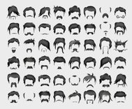 vector set of whiskers and hairstyles