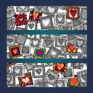 Unique abstract pattern card set with hearts in frames.