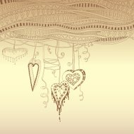 Vector abstract floral decorative background with doodle hearts.
