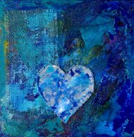 Blue abstract collage painting with heart