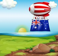 floating balloon with the flag of Australia