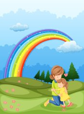 mother and a child hugging near the rainbow