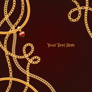 Different golden chains and heart gemstone pendant background.