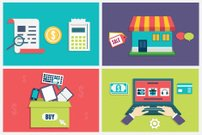 Vector flat concept of process online shopping