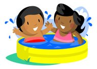 Boy and Girl in Kiddie Pool